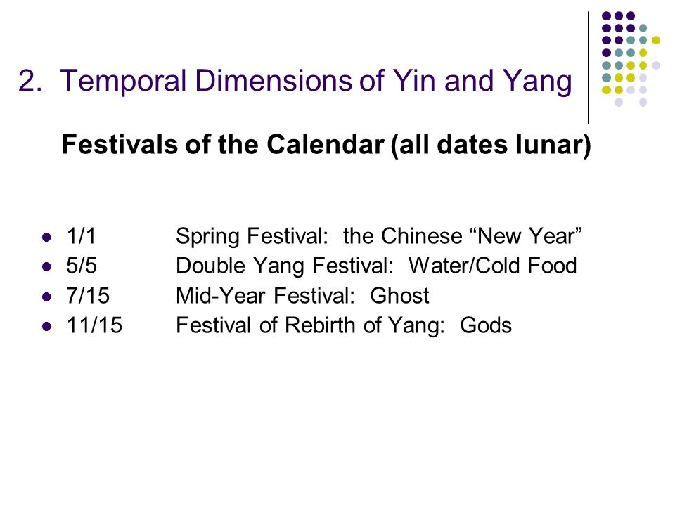 "2. Temporal Dimensions of Yin and Yang Festivals of the Calendar (all dates lunar) 1/1Spring Festival: the Chinese ""New Year"" 5/5Double Yang Festival:"