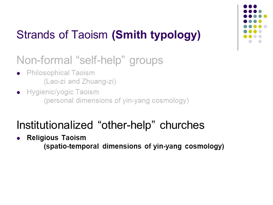 "Strands of Taoism (Smith typology) Non-formal ""self-help"" groups Philosophical Taoism (Lao-zi and Zhuang-zi) Hygienic/yogic Taoism (personal dimension"