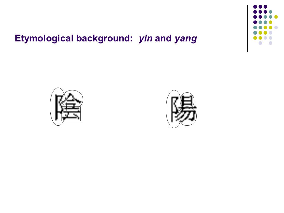 Etymological background: yin and yang
