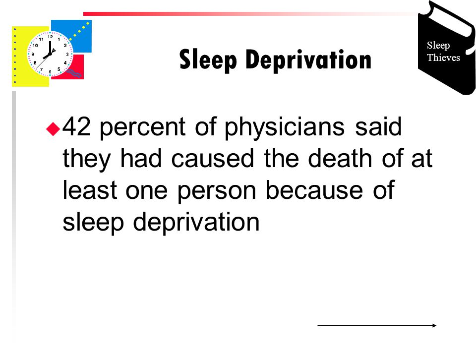 Sleep Deprivation u 42 percent of physicians said they had caused the death of at least one person because of sleep deprivation Sleep Thieves