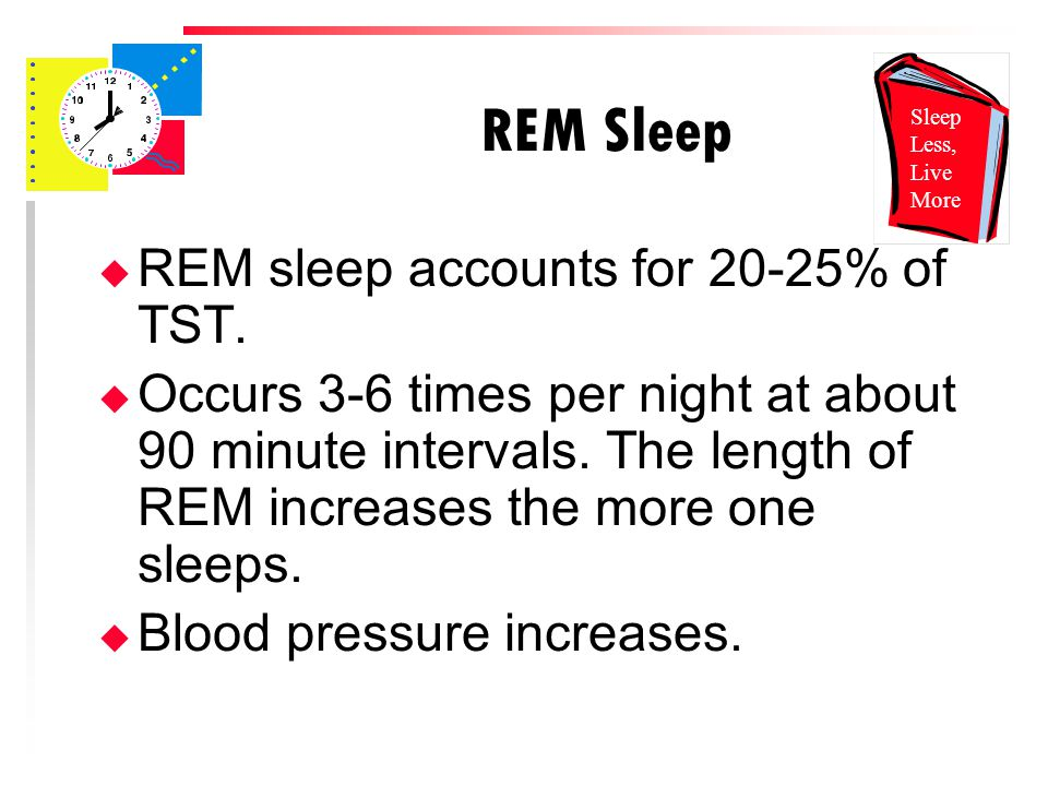 REM Sleep u REM sleep accounts for 20-25% of TST.