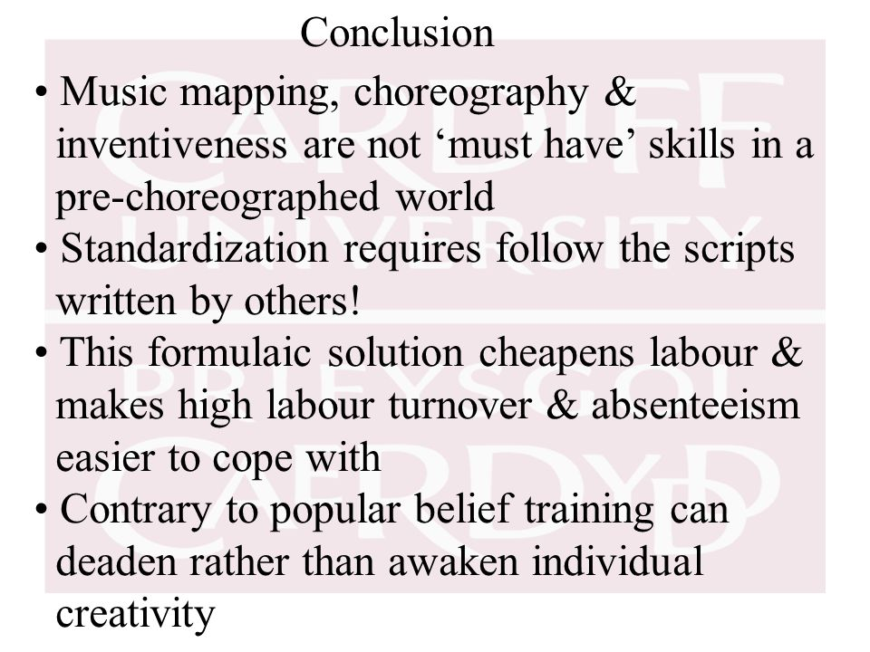 Conclusion Music mapping, choreography & inventiveness are not 'must have' skills in a pre-choreographed world Standardization requires follow the scripts written by others.
