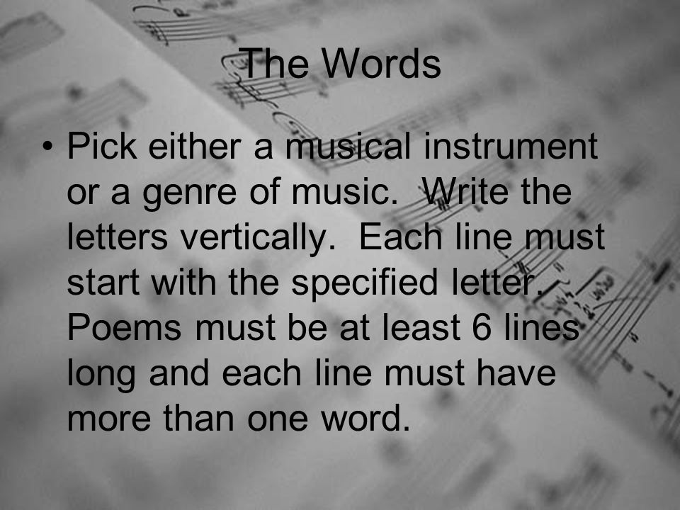 The Words Pick either a musical instrument or a genre of music.