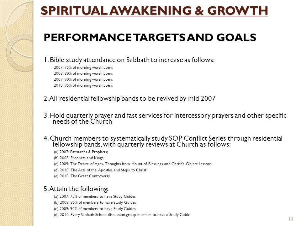 SPIRITUAL AWAKENING & GROWTH PERFORMANCE TARGETS AND GOALS 1.