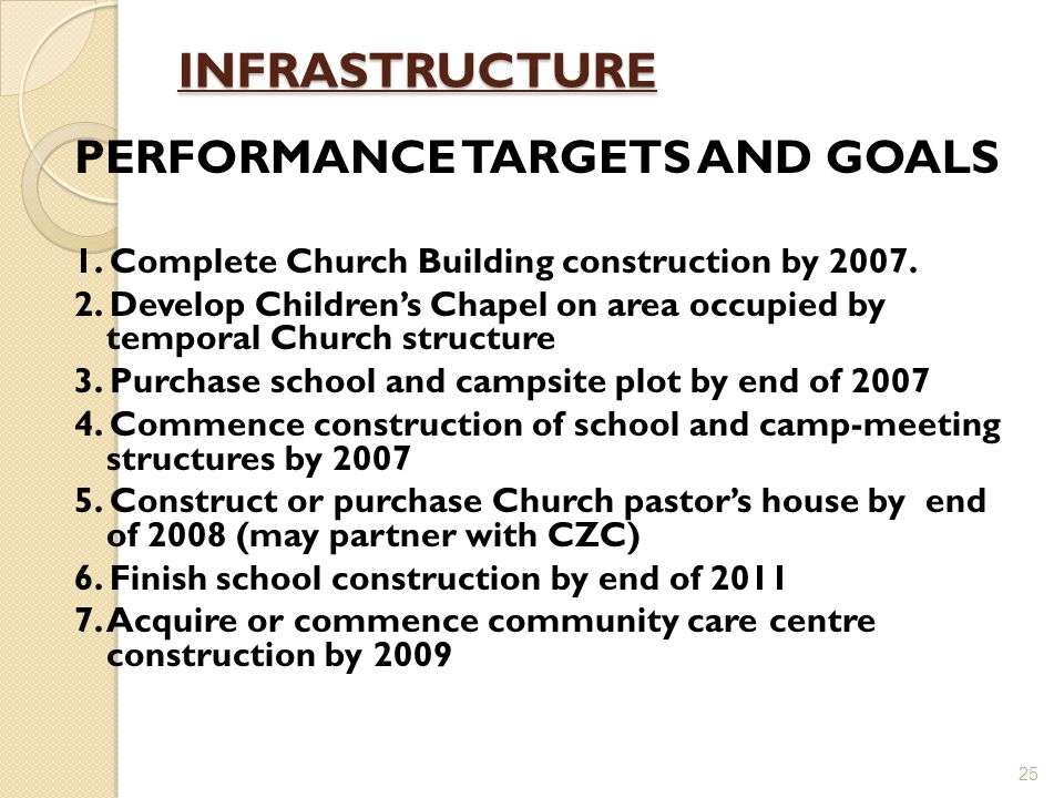 INFRASTRUCTURE PERFORMANCE TARGETS AND GOALS 1. Complete Church Building construction by 2007.