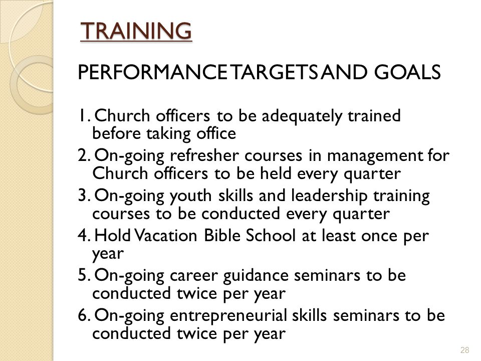 TRAINING PERFORMANCE TARGETS AND GOALS 1.