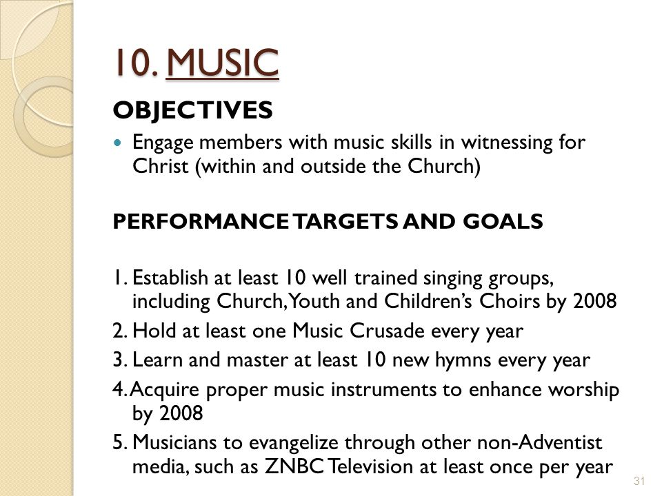 10. MUSIC OBJECTIVES Engage members with music skills in witnessing for Christ (within and outside the Church) PERFORMANCE TARGETS AND GOALS 1. Establ