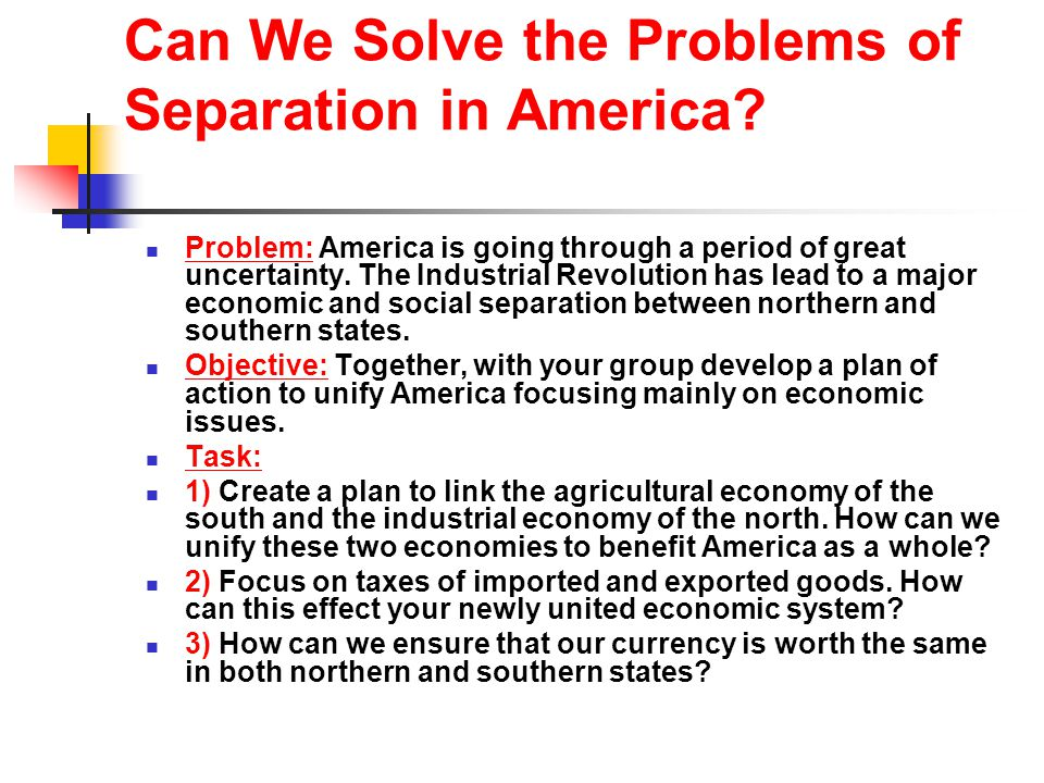 The American System A plan of economic self- sufficiency in America The plan included: 1) developing transportation systems between states (railroads) 2) establishing protective tariffs 3) Resurrecting the national bank National Road from Maryland to Illinois Erie canal- connected the great lakes to the Atlantic ocean
