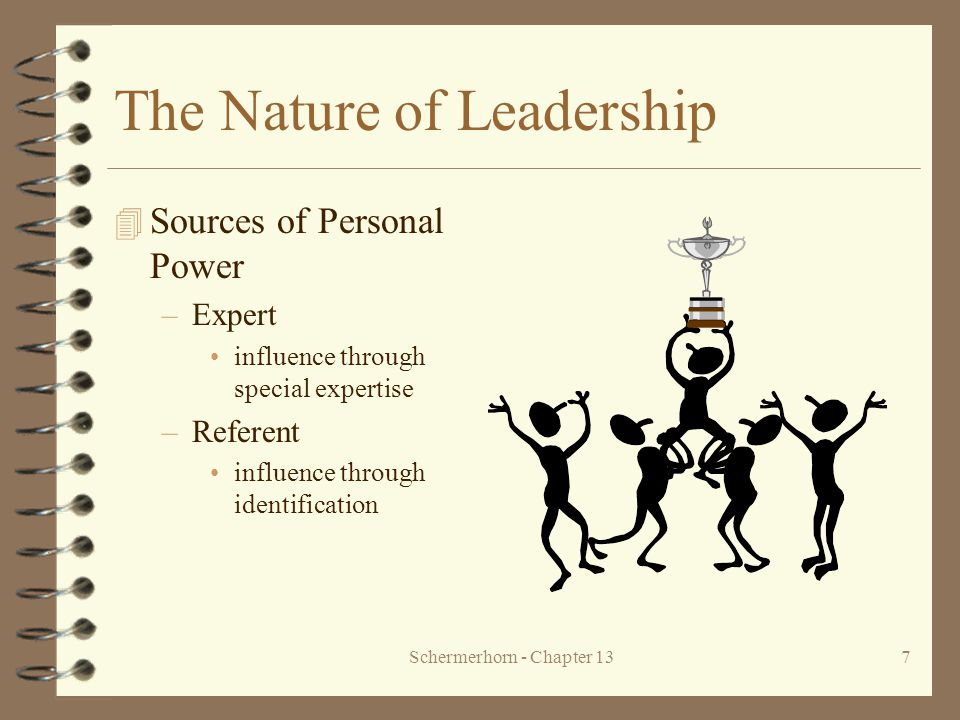 Schermerhorn - Chapter 1318 Contingency Approaches to Leadership 4 Fiedler's Contingency Model –Matching leadership style and situation task oriented leader is most successful –very favorable (high control) –very unfavorable (low control) relationship oriented leader is most successful –moderate control situation