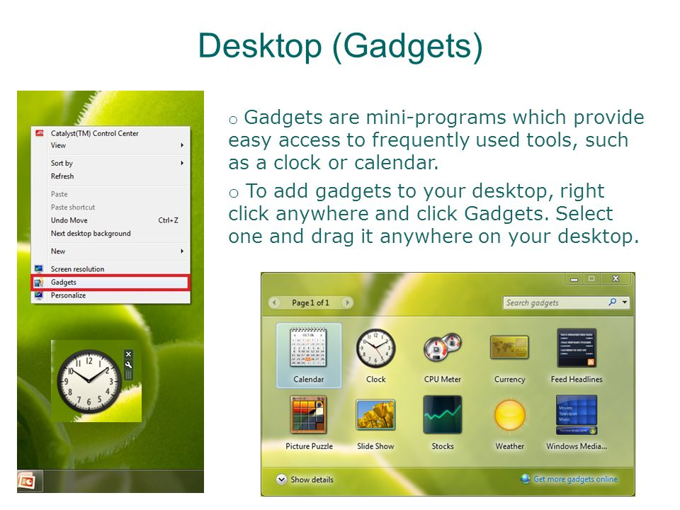 Opening Folders or Programs o To open a folder or program from the desktop, you can either double click the icon with the left button of your mouse, or click it once and then press Enter on your keyboard