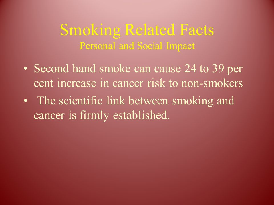 Smoking Related Facts Personal and Social Impact Second hand smoke can cause 24 to 39 per cent increase in cancer risk to non-smokers The scientific link between smoking and cancer is firmly established.