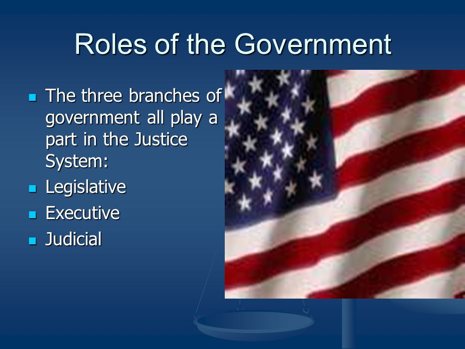 Roles of the Government The three branches of government all play a part in the Justice System: The three branches of government all play a part in the Justice System: Legislative Legislative Executive Executive Judicial Judicial