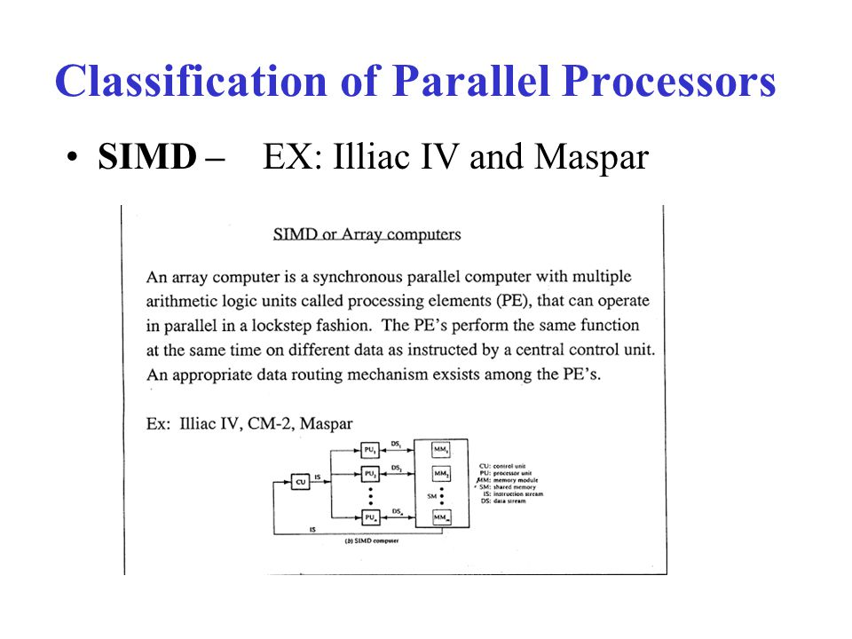 Classification of Parallel Processors SIMD – EX: Illiac IV and Maspar