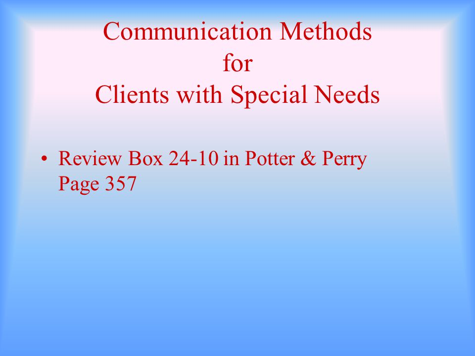 Communication Methods for Clients with Special Needs Review Box 24-10 in Potter & Perry Page 357