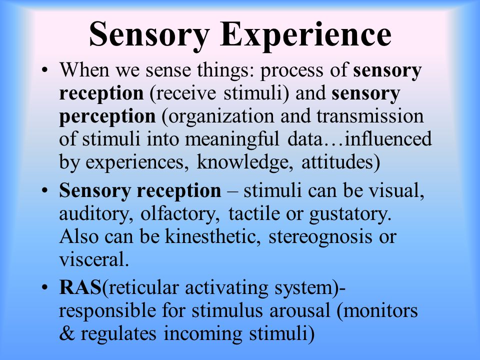 Sensory Experience When we sense things: process of sensory reception (receive stimuli) and sensory perception (organization and transmission of stimuli into meaningful data…influenced by experiences, knowledge, attitudes) Sensory reception – stimuli can be visual, auditory, olfactory, tactile or gustatory.