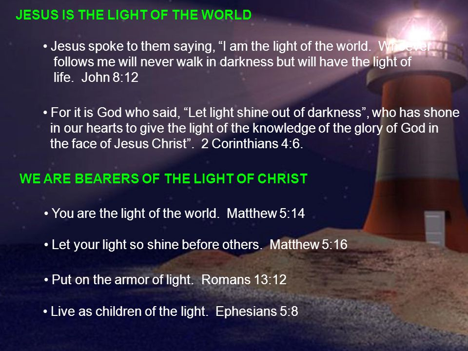 JESUS IS THE LIGHT OF THE WORLD Jesus spoke to them saying, I am the light of the world.