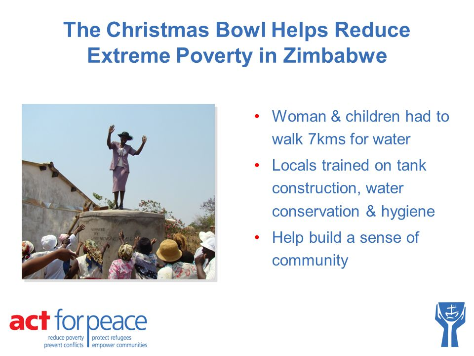 The Christmas Bowl Helps Reduce Extreme Poverty in Zimbabwe Woman & children had to walk 7kms for water Locals trained on tank construction, water con