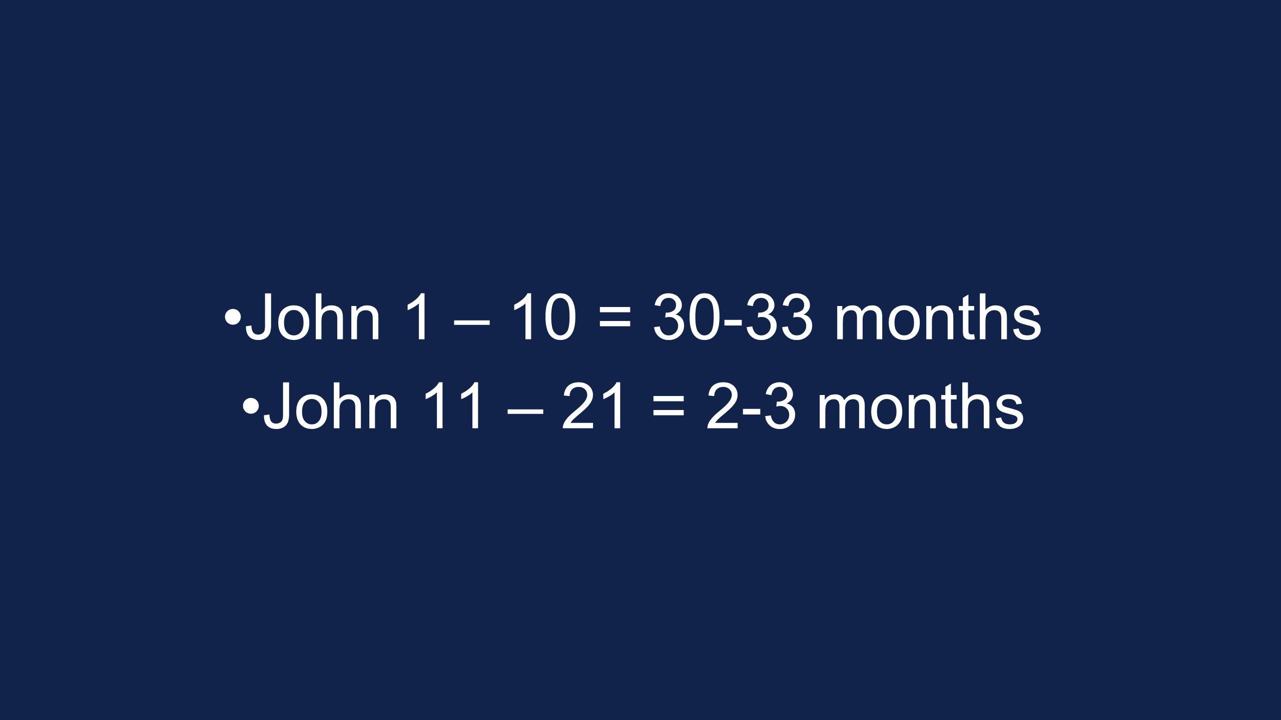 John 1 – 10 = 30-33 months John 11 – 21 = 2-3 months