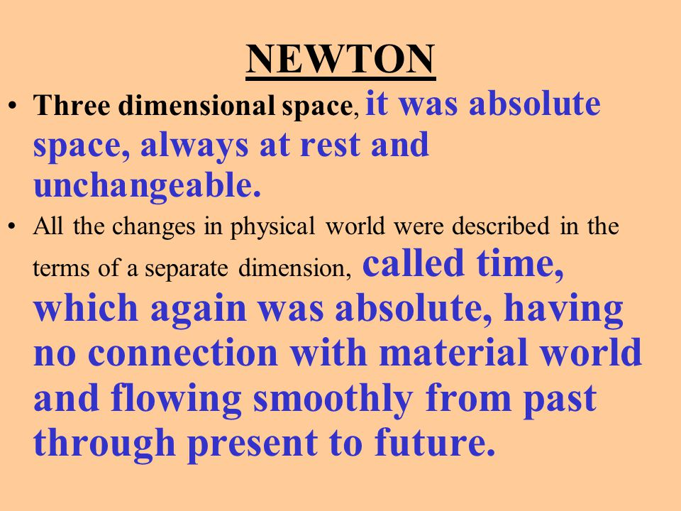 NEWTON Three dimensional space, it was absolute space, always at rest and unchangeable.