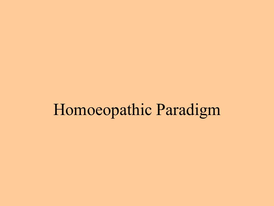 Homoeopathic Paradigm