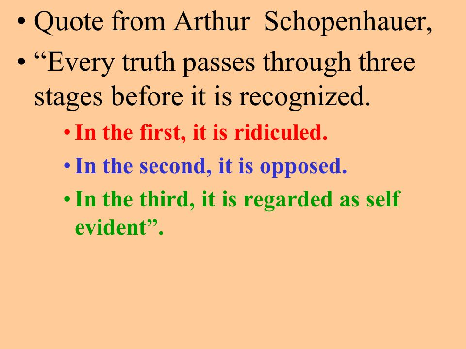 Quote from Arthur Schopenhauer, Every truth passes through three stages before it is recognized.