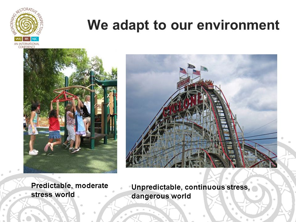 We adapt to our environment Predictable, moderate stress world Unpredictable, continuous stress, dangerous world
