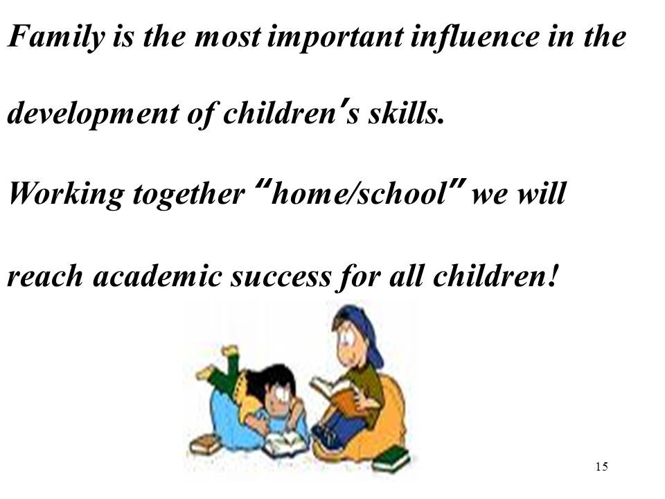 15 Family is the most important influence in the development of children's skills.