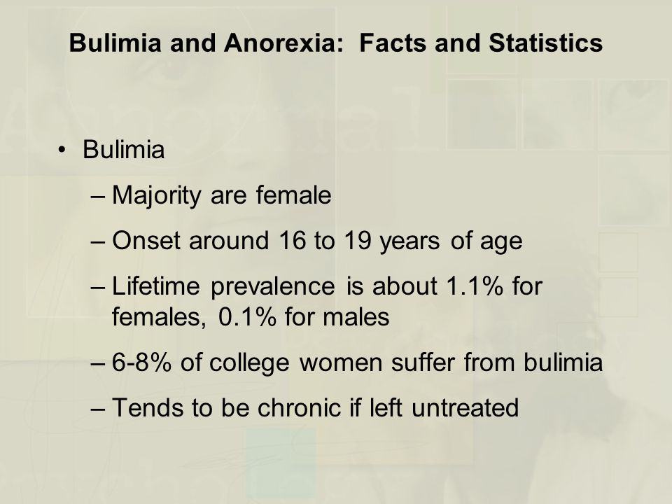 Bulimia and Anorexia: Facts and Statistics Bulimia –Majority are female –Onset around 16 to 19 years of age –Lifetime prevalence is about 1.1% for females, 0.1% for males –6-8% of college women suffer from bulimia –Tends to be chronic if left untreated