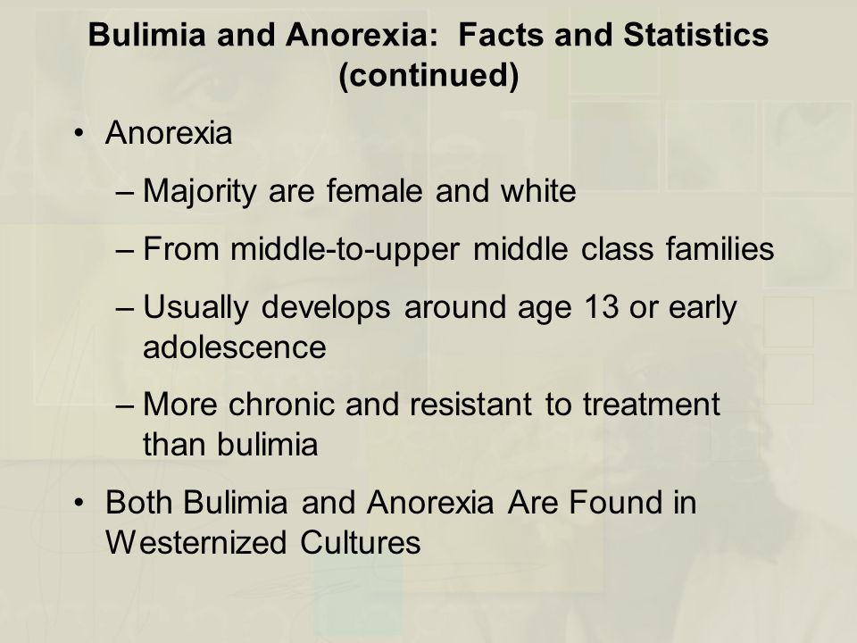 Bulimia and Anorexia: Facts and Statistics (continued) Anorexia –Majority are female and white –From middle-to-upper middle class families –Usually develops around age 13 or early adolescence –More chronic and resistant to treatment than bulimia Both Bulimia and Anorexia Are Found in Westernized Cultures
