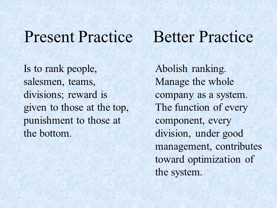 Present Practice Is to rank people, salesmen, teams, divisions; reward is given to those at the top, punishment to those at the bottom.