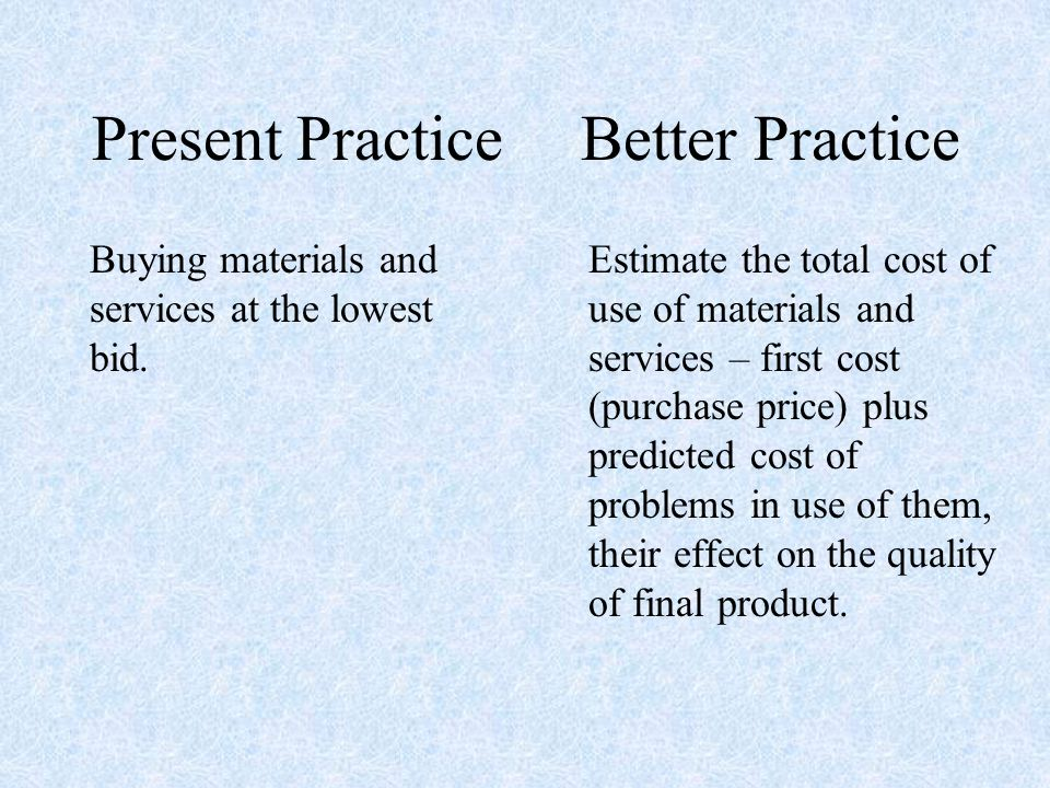 Present Practice Buying materials and services at the lowest bid.