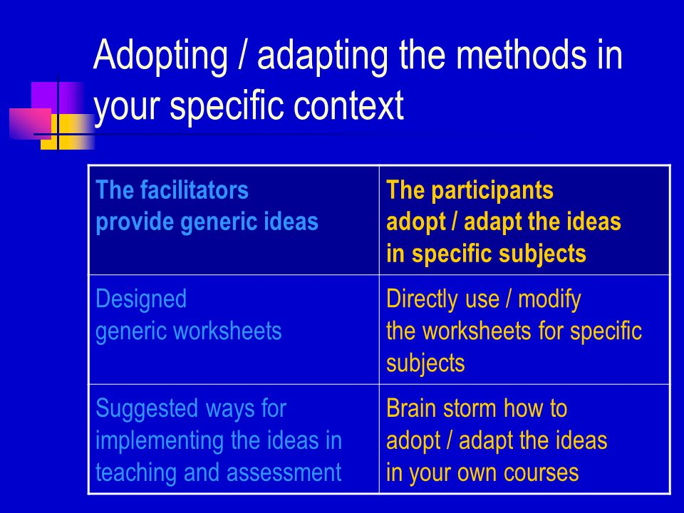 Objectives of this workshop series cognitive development needs 1.Identify the cognitive development needs of students educational theories 2.Introduce some educational theories which can help us address the developmental needs easy methods for teaching / assessment 3.Propose easy methods for teaching / assessment for helping with these cognitive development needs adopting / adapting 4.Explore ways for adopting / adapting some of the methods in your course