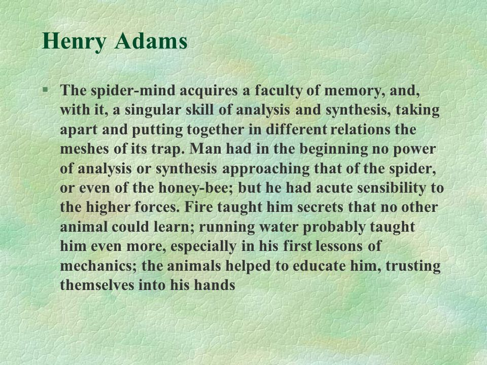 Henry Adams §The spider-mind acquires a faculty of memory, and, with it, a singular skill of analysis and synthesis, taking apart and putting together in different relations the meshes of its trap.