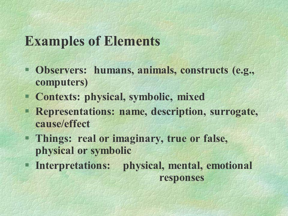 Examples of Elements §Observers: humans, animals, constructs (e.g., computers) §Contexts: physical, symbolic, mixed §Representations: name, descriptio
