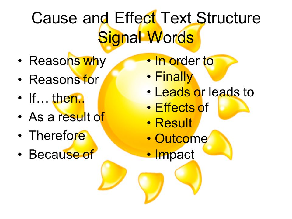 Cause and Effect Text Structure Signal Words Reasons why Reasons for If… then..