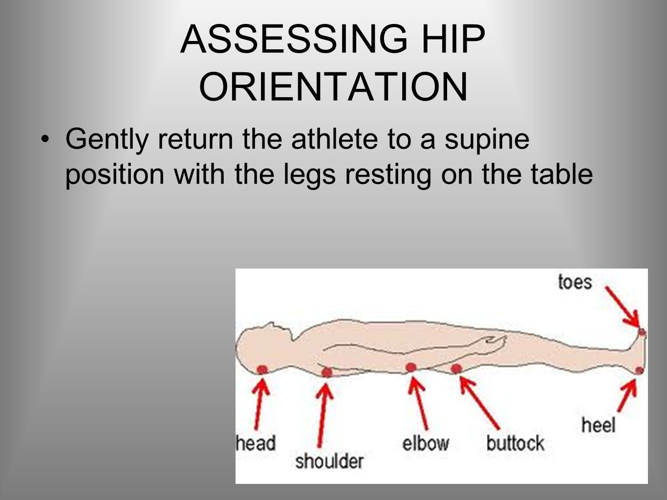 ASSESSING HIP ORIENTATION Gently return the athlete to a supine position with the legs resting on the table