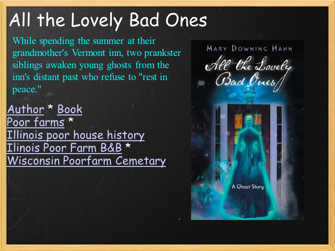 All the Lovely Bad Ones AuthorAuthor * BookBook Poor farmsPoor farms * Illinois poor house history Ilinois Poor Farm B&BIlinois Poor Farm B&B * Wiscon
