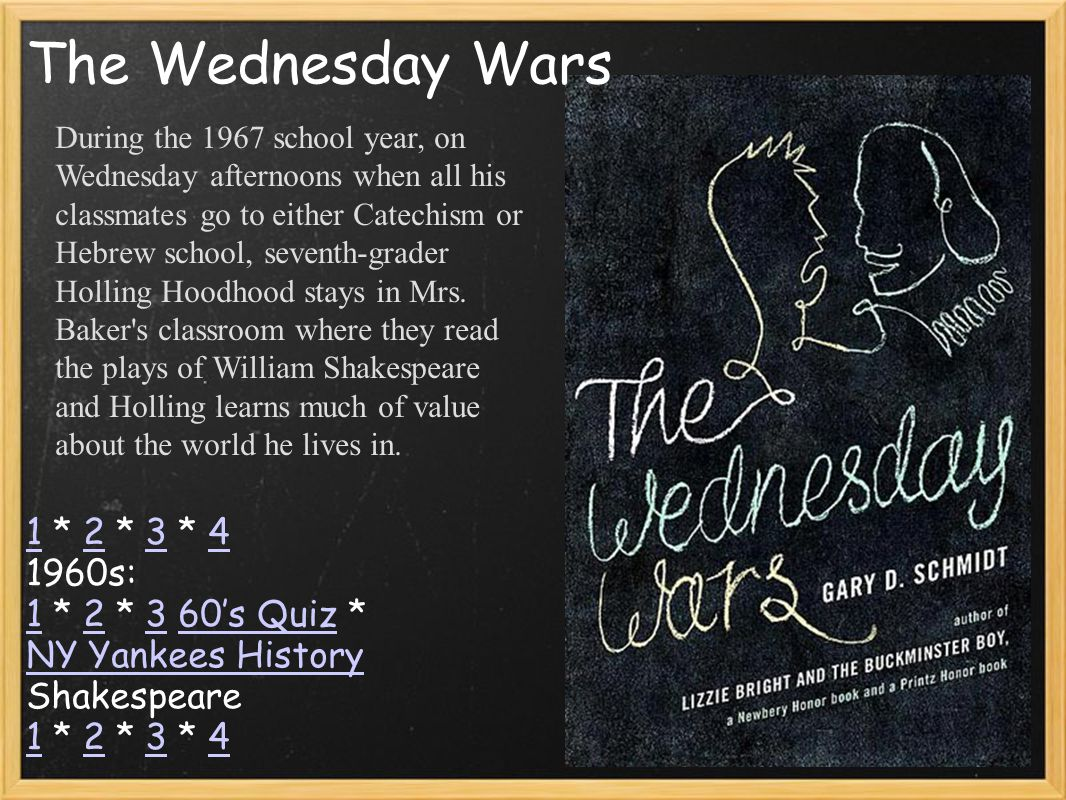 11 * 2 * 3 * 4234 1960s: 1 * 2 * 3 60's Quiz * 12360's Quiz NY Yankees History Shakespeare 1 * 2 * 3 * 4 1234 The Wednesday Wars During the 1967 schoo