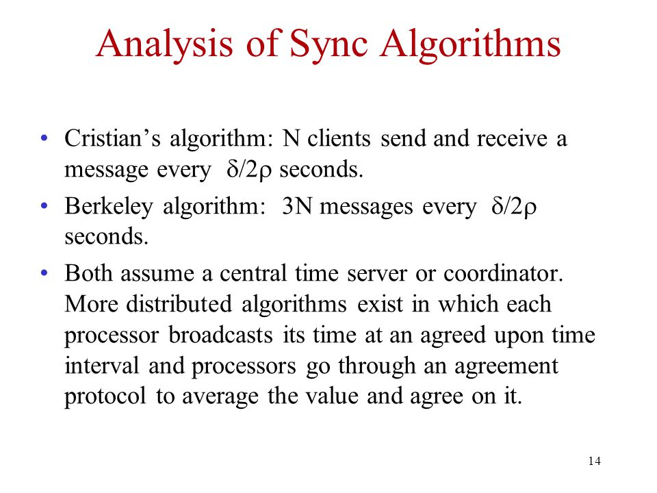 14 Analysis of Sync Algorithms Cristian's algorithm: N clients send and receive a message every  /2  seconds.
