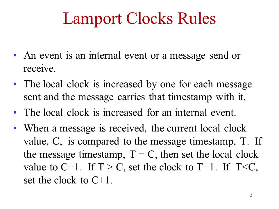 21 Lamport Clocks Rules An event is an internal event or a message send or receive.