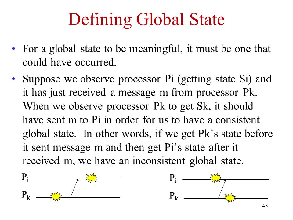 43 Defining Global State For a global state to be meaningful, it must be one that could have occurred.