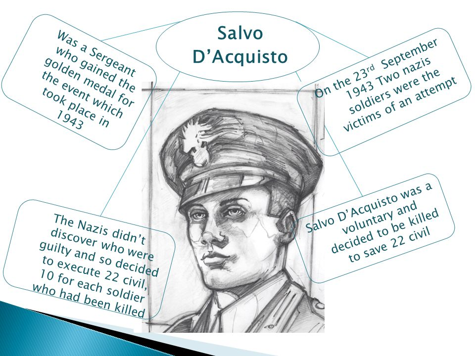 Salvo D'Acquisto Was a Sergeant who gained the golden medal for the event which took place in 1943 The Nazis didn't discover who were guilty and so decided to execute 22 civil, 10 for each soldier who had been killed Salvo D'Acquisto was a voluntary and decided to be killed to save 22 civil On the 23 rd September 1943 Two nazis soldiers were the victims of an attempt