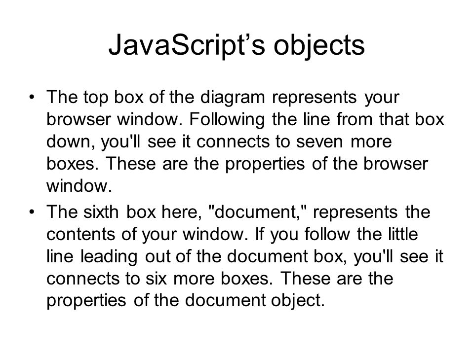 JavaScript's objects The top box of the diagram represents your browser window.