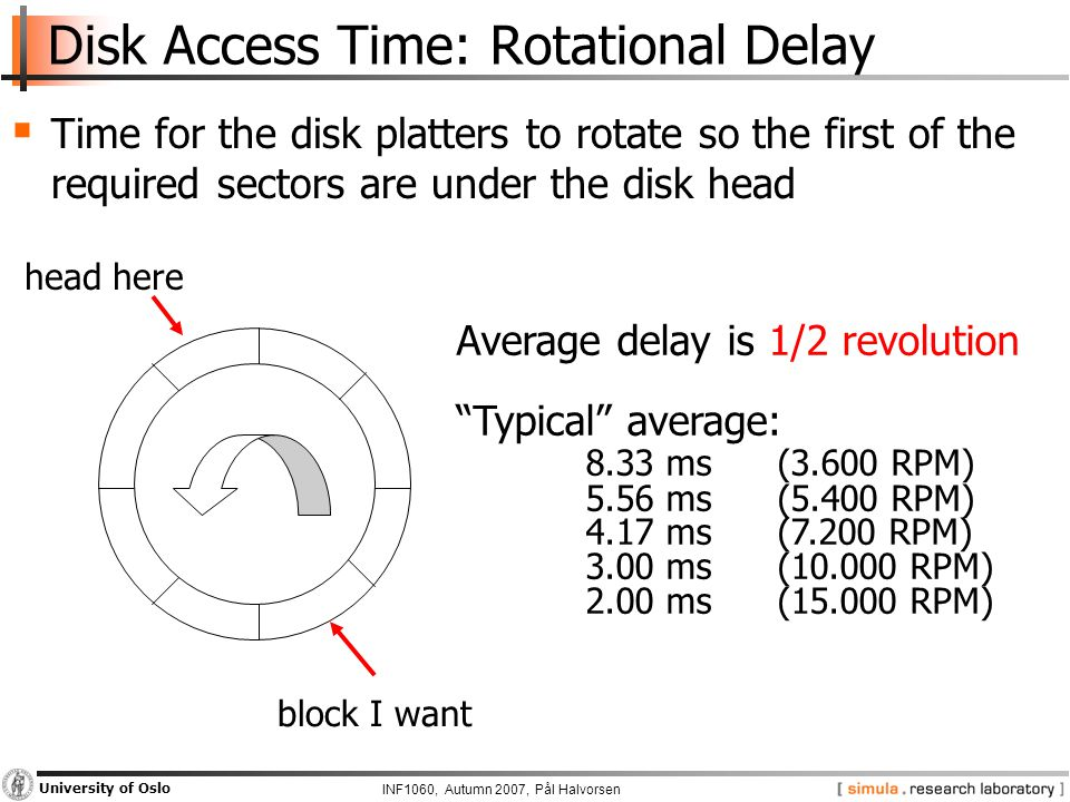 INF1060, Autumn 2007, Pål Halvorsen University of Oslo Disk Access Time: Rotational Delay  Time for the disk platters to rotate so the first of the required sectors are under the disk head head here block I want Average delay is 1/2 revolution Typical average: 8.33 ms (3.600 RPM) 5.56 ms (5.400 RPM) 4.17 ms (7.200 RPM) 3.00 ms (10.000 RPM) 2.00 ms (15.000 RPM)