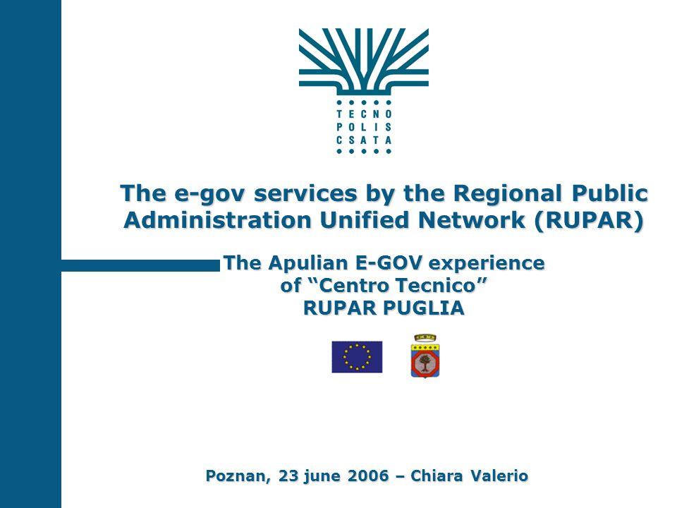The e-gov services by the Regional Public Administration Unified Network (RUPAR) The Apulian E-GOV experience of Centro Tecnico RUPAR PUGLIA Poznan, 23 june 2006 – Chiara Valerio
