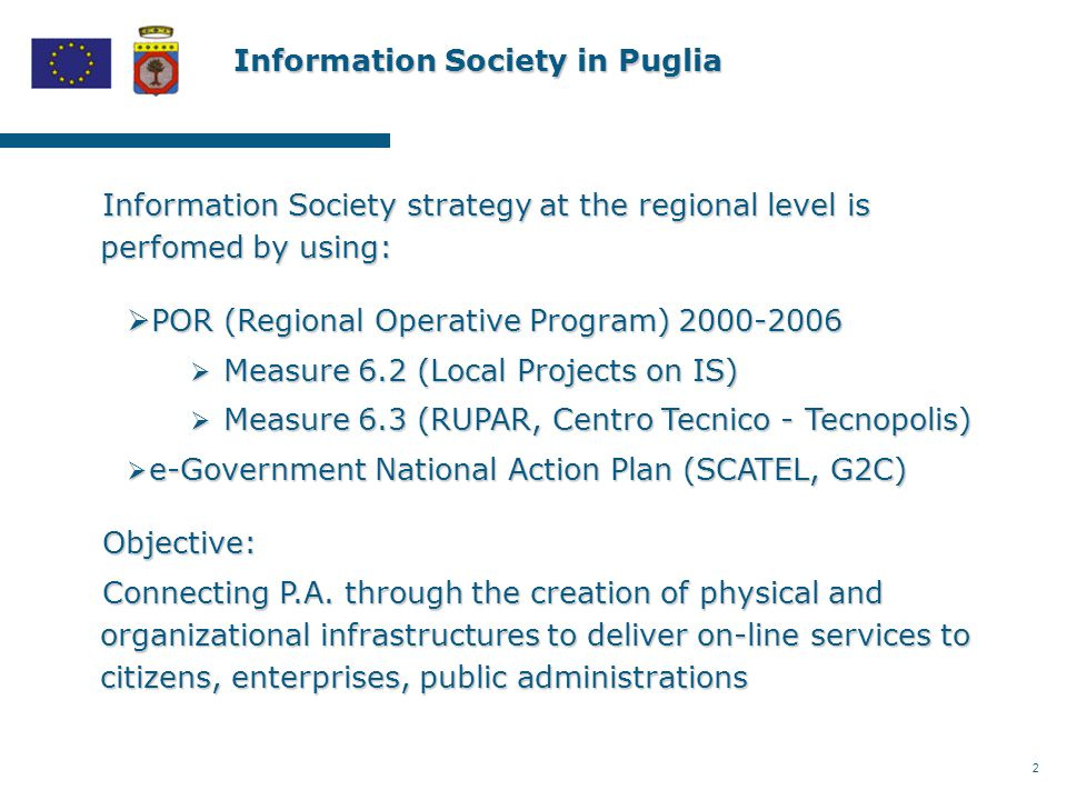 2 Information Society in Puglia Information Society strategy at the regional level is perfomed by using:  POR (Regional Operative Program) 2000-2006