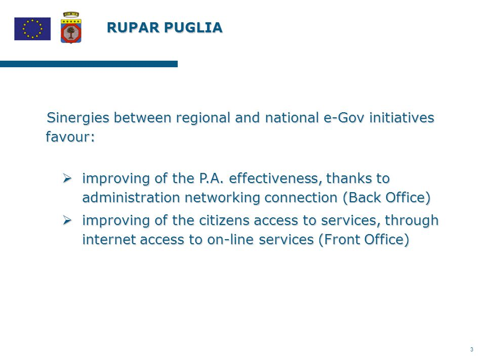 3 RUPAR PUGLIA Sinergies between regional and national e-Gov initiatives favour:  improving of the P.A.