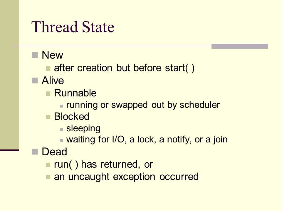 Thread State New after creation but before start( ) Alive Runnable running or swapped out by scheduler Blocked sleeping waiting for I/O, a lock, a notify, or a join Dead run( ) has returned, or an uncaught exception occurred