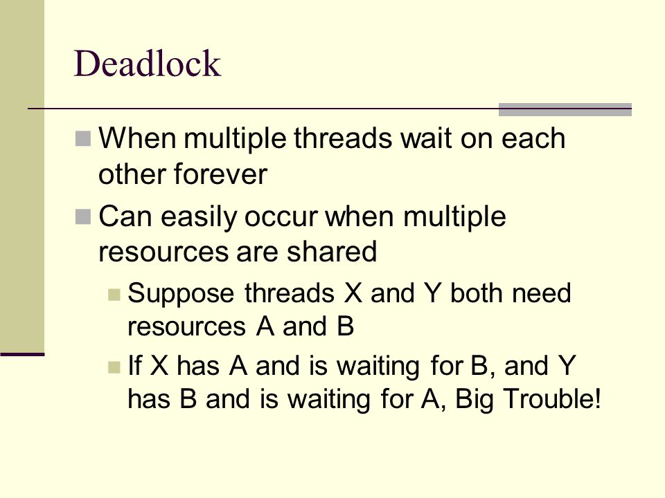 Deadlock When multiple threads wait on each other forever Can easily occur when multiple resources are shared Suppose threads X and Y both need resources A and B If X has A and is waiting for B, and Y has B and is waiting for A, Big Trouble!