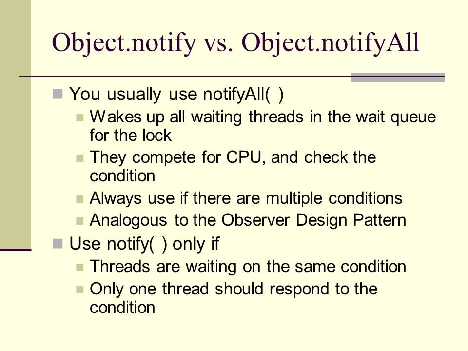 Object.notify vs.